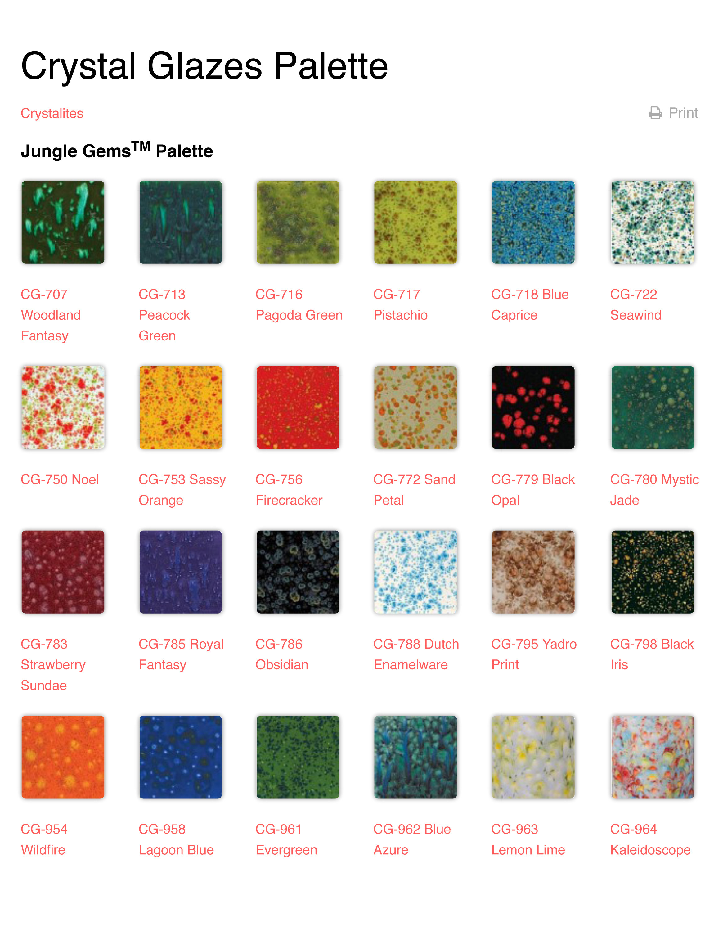 Crystal Glazes Palette